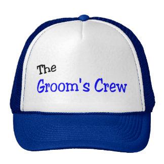 El equipo de los novios azul y negro gorras de camionero