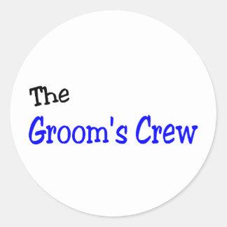 El equipo de los novios (azul y negro) pegatina redonda