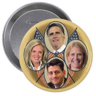 El equipo de Romney Ryan Pin Redondo De 4 Pulgadas