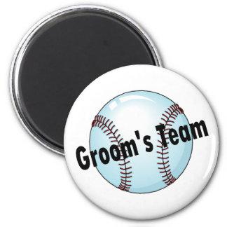 El equipo del novio (béisbol) imán redondo 5 cm