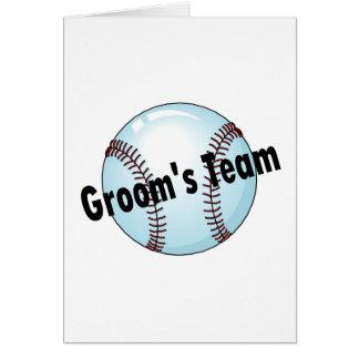El equipo del novio (béisbol) tarjeta de felicitación