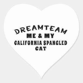 El equipo ideal yo y mi California Spangled el Pegatina En Forma De Corazón