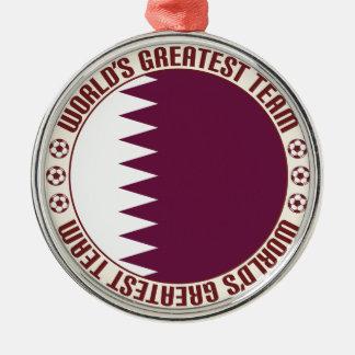 El equipo más grande de Qatar Adorno Redondo Plateado