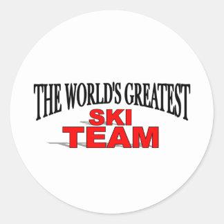 El equipo más grande del esquí del mundo pegatina redonda