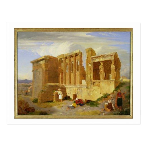 El Erechtheum, Atenas, con las figuras en el Foreg Tarjeta Postal
