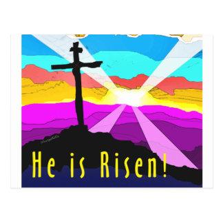 Él es diseño cristiano cruzado subido del regalo postal