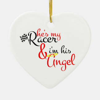 Él es mi corredor y soy su ángel adorno navideño de cerámica en forma de corazón