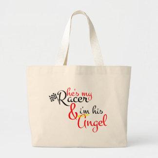 Él es mi corredor y soy su ángel bolsa tela grande
