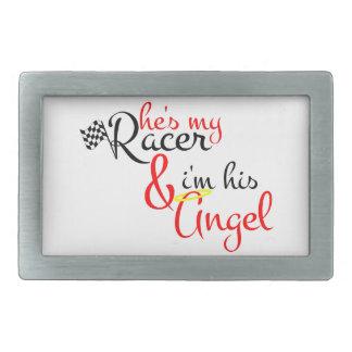 Él es mi corredor y soy su ángel hebilla cinturón rectangular