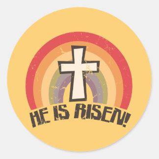 Él es Pascua religiosa subida Pegatina Redonda