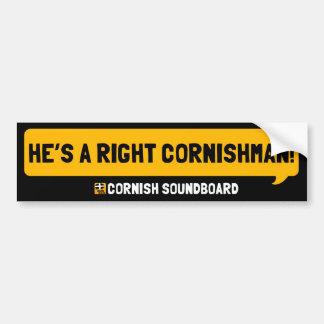 ¡Él es un Cornishman derecho! Un topetón de Cornua Pegatina Para Auto