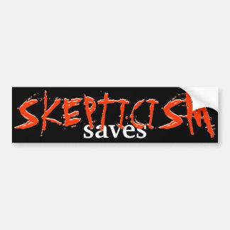 ¡El escepticismo ahorra! Etiqueta De Parachoque