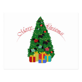 El escocés adorna el árbol de navidad postal