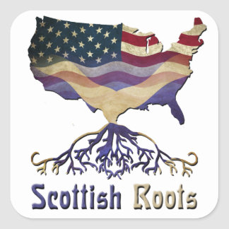 El escocés americano arraiga a los pegatinas pegatina cuadradas personalizada