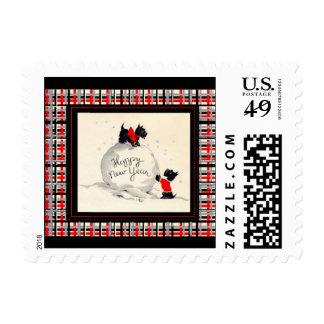 El escocés del sello de la postal persigue Feliz