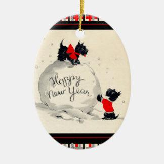 El escocés persigue Feliz Año Nuevo Adorno Navideño Ovalado De Cerámica