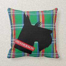 El escocés Terrier de la tela escocesa personalizó Almohadas