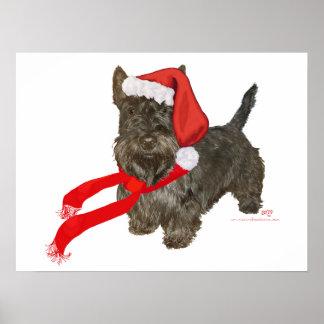 El escocés Terrier es el ayudante de Santa Posters