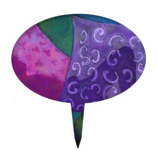 El escondite - cielo púrpura y magenta abstracto figuras para tartas