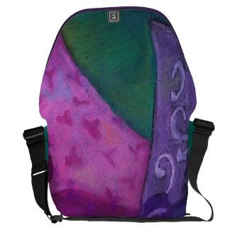 El escondite - cielo púrpura y magenta abstracto bolsa de mensajería