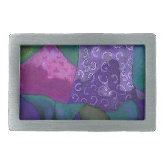 El escondite - cielo púrpura y magenta abstracto hebilla cinturon rectangular