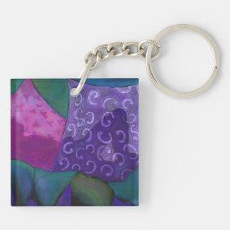 El escondite - cielo púrpura y magenta abstracto llavero cuadrado acrílico a doble cara