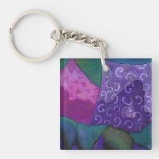 El escondite - cielo púrpura y magenta abstracto llavero cuadrado acrílico a una cara