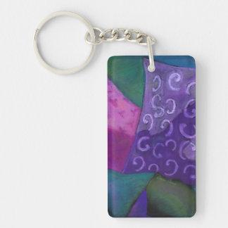 El escondite - cielo púrpura y magenta abstracto llavero rectangular acrílico a una cara