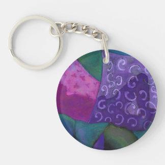 El escondite - cielo púrpura y magenta abstracto llavero redondo acrílico a doble cara