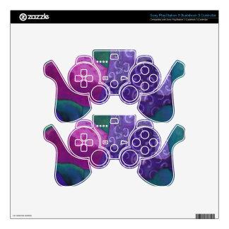 El escondite - cielo púrpura y magenta abstracto mando PS3 calcomanías