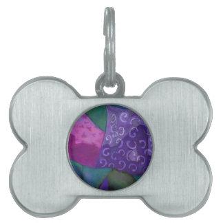 El escondite - cielo púrpura y magenta abstracto placa de nombre de mascota