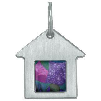 El escondite - cielo púrpura y magenta abstracto placas de nombre de mascota