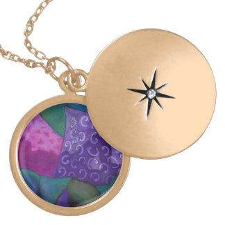 El escondite - cielo púrpura y magenta abstracto medallón