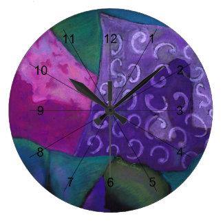 El escondite - cielo púrpura y magenta abstracto reloj redondo grande