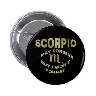 El escorpión perdona pero no olvida los botones pin redondo de 2 pulgadas