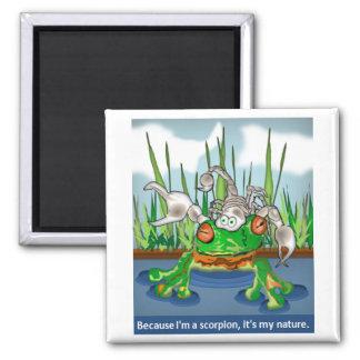 El escorpión y la rana imanes de nevera