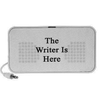 El escritor está aquí altavoces de viajar