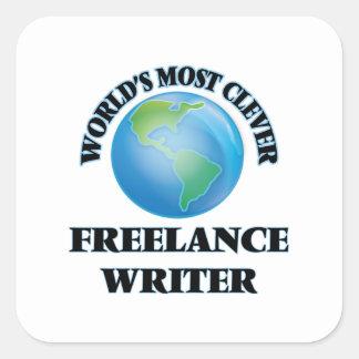 El escritor free lance más listo del mundo pegatina cuadrada