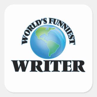 El escritor más divertido del mundo pegatina cuadrada