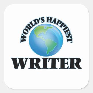 El escritor más feliz del mundo pegatina cuadrada