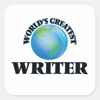 El escritor más grande del mundo pegatina cuadrada
