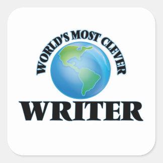 El escritor más listo del mundo pegatina cuadrada