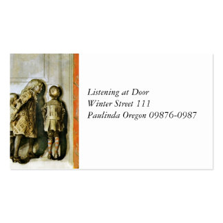 El escuchar en Navidad Eve de la puerta Tarjetas De Visita