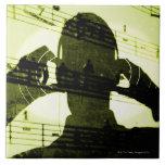 El escuchar la música azulejo cuadrado grande