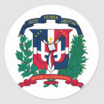 El escudo de armas de la República Dominicana HACE Etiquetas Redondas