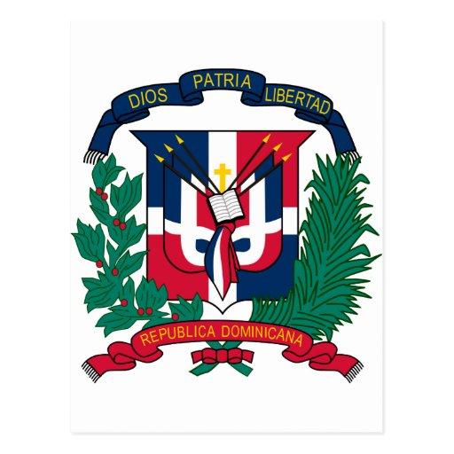 El escudo de armas de la República Dominicana HACE Postal