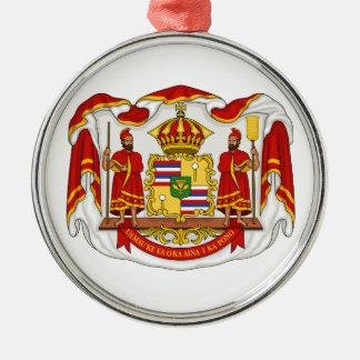 El escudo de armas real del Reino de Hawaii Adorno Navideño Redondo De Metal