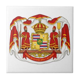 El escudo de armas real del Reino de Hawaii Teja Ceramica