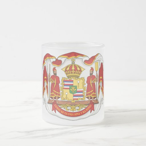 El escudo de armas real del Reino de Hawaii Taza De Cristal