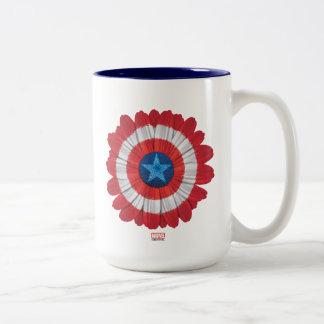 El escudo de capitán América diseñó la flor de la Taza De Café De Dos Colores